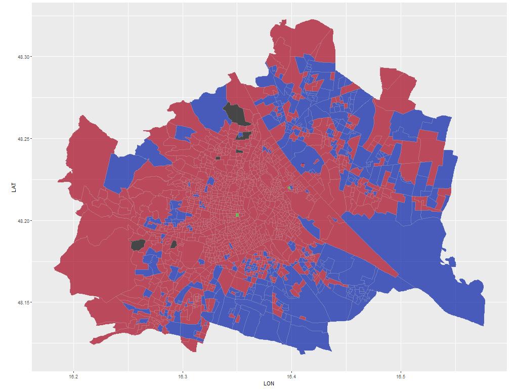 Gemeinderatswahl: Wien mit Sprengelgrenze, gefärbt nach Wahlergebnis mit Koordinatensystem als Hintergrund