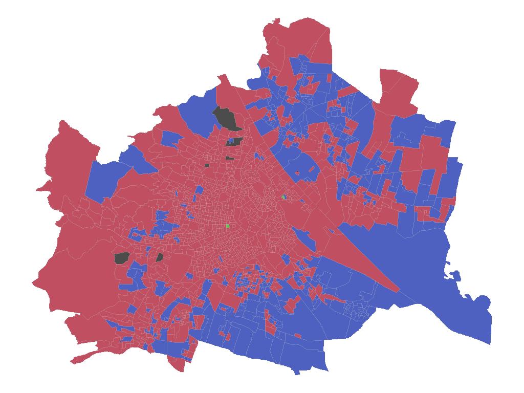 Gemeinderatswahl: Wien mit Sprengelgrenze, gefärbt nach Wahlergebnis ohne Hintergrundkarte