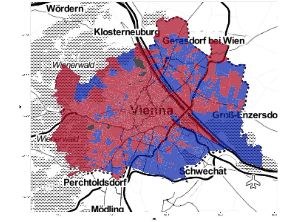 Gemeinderatswahl: Wien mit Sprengelgrenze, gefärbt nach Wahlergebnis mit Hintergrundkarte